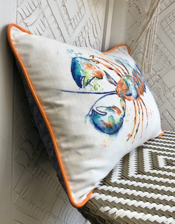Lobster cushion, Orange and blue lobster pillow, Crustacean sea creature cushion, Cotton and linen Bolster cushion, Piped trim lumber pillow
