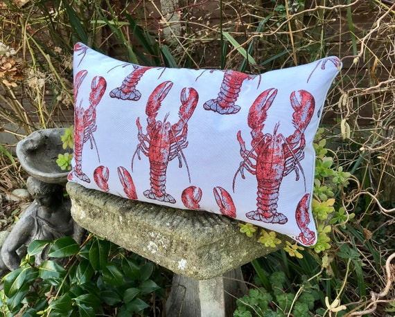 Tapestry Lobster cushion, Pink lobster lumbar pillow, Beach life bolster cushion, pink and white cushion, Sea life theme home decor