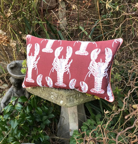 Lobster Bolster cushion, Tapestry fabric Piped Pillow, Rock lobster red and white and copper cushion, Crustacean Seaside theme homeware