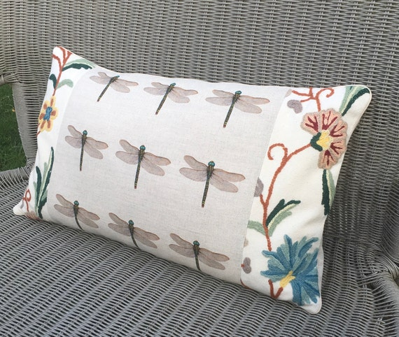 Dragonfly Cushion Tapestry Dragonfly Pillow Embroidery Etsy Awesome Better Homes And Gardens Langston Collection Oblong Decorative Pillow