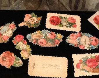 Ten pieces of Victorian scrap, including calling cards.