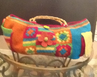 "Hand crocheted, felted yarn tote. ""Piñata"" bag."