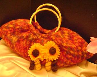 Hand crocheted, felted sunflower bag.