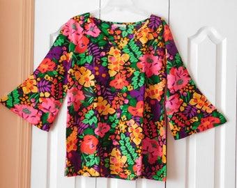 Fabulous Vintage Bobbie Brooks Summer Blouse, Beach Wear, Resort Wear, Bold Bright Summer Blouse