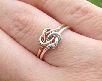 Double Knot Ring, Knot Promise Ring, Gold Filled Ring, Two Toned Ring, Gifts For Her, Two Love Knots, Love Knot Ring, Gift For Her