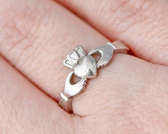 Sterling Silver Claddagh Ring, Claddagh Jewelry, Promise Ring, Irish Jewelry, Engagement Ring, Irish Wedding Ring, Gift For Her