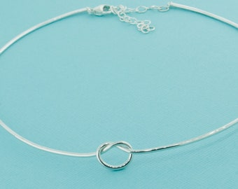 Knot Collar Necklace, Love Knot Choker, Love Knot Jewelry, Silver Knot Necklace, Sterling Love Knot, Silver Knot Jewelry, Gift For Her