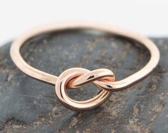 10K Rose Gold Ring, Love Knot Ring, Rose Gold Knot Ring, Love Knot Jewelry, Friendship Ring, Knotted Ring, Promise Ring, Gift For Her
