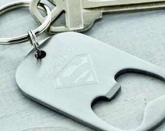 Super Dad Keychain, Super Hero Keychain, Gift for Dad, Super Dad KeyRing, Dad Gift, Gift For Him, Father's Day Gift, Superman Gift