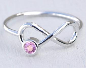 Pink Sapphire Ring, October Birthstone Ring, Infinity Ring, Pink Gemstone Ring, Pink Jewelry, October Birthstone Jewelry