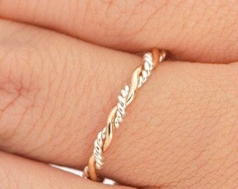 Two Tone Ring, Thumb Ring For Women, Twist Ring, Stacking Rings, Twisted Ring, Gold Stackable Ring, Gift For Her, Twisty 1