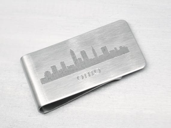 Cleveland Skyline Money Clip, Personalized Money Clip, Groomsmen Gift, Custom Money Clip, Gifts for Dad, Gift For Him