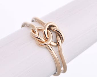 10K Rose Gold Ring, Promise Ring, 10K Knot Ring, Pink Gold Ring, Solid Rose Gold Ring, Engagement Ring, Rose Gold Love Ring, Gift For Her