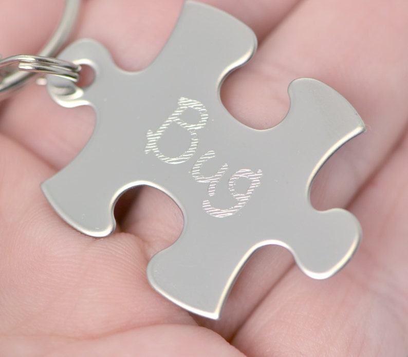 Personalized Keychain Puzzle KeyChain Engraved Key Ring Monogram Key Ring Gift for Him Gifts Under 25 Engraved Puzzle Piece