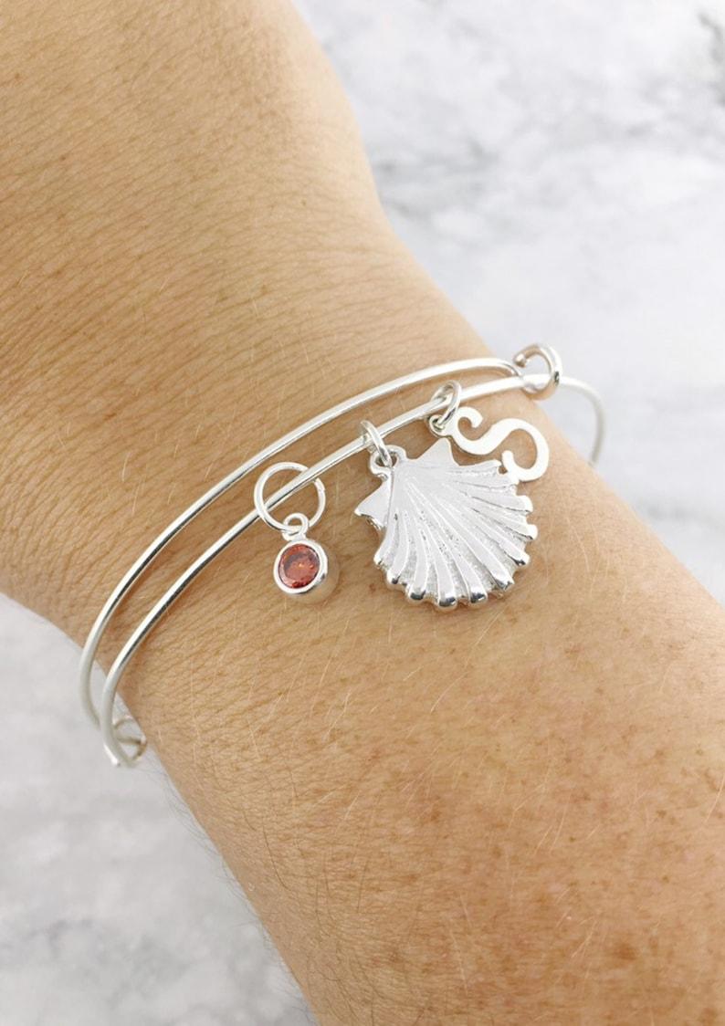 Expandable Bangle Silver Sea Shell Bangle 76 July Birthstone Jewelry Customized Gift Summer