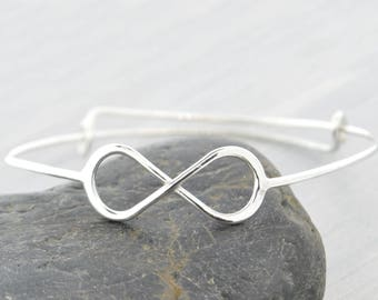 Infinity Bangle Bracelet, Infinity Bangle Bracelet, Infinity Bracelet Silver, Gift For Mom, Adjustable Bangle, Gift For Her