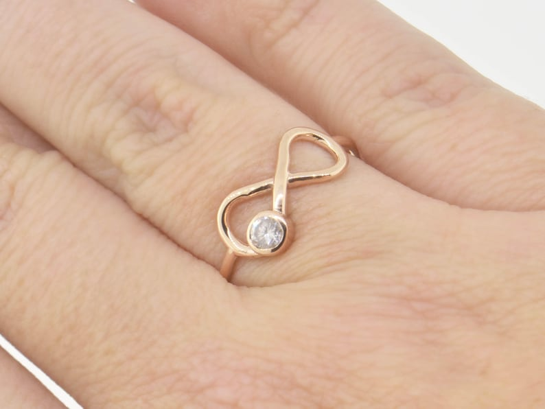 Promise Ring April Birthstone Gift For Her Diamond Infinity Ring 10K Rose Gold Ring Engagement Ring RTS64 Diamond Ring Ready To Ship