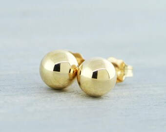 14K Yellow Gold Earrings, Ready To Ship, Yellow Gold Ball Studs, Gold Earring Post, Round Stud Earring, Gift For Her, Gold Studs