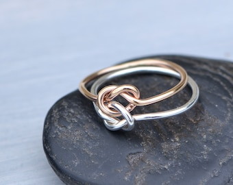 Double Knot Ring, Rose Gold Filled Ring, Two Toned Ring, Two Love Knots, Knot Promise Ring, BFF Promise Ring, Unique Promise Ring