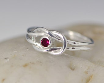 Gifts For Her, Promise Ring, Infinity Knot Birthstone Ring, July Birthstone Ring, Infinity Knot Jewelry, Birthstone Ring, Mother's Day Gift