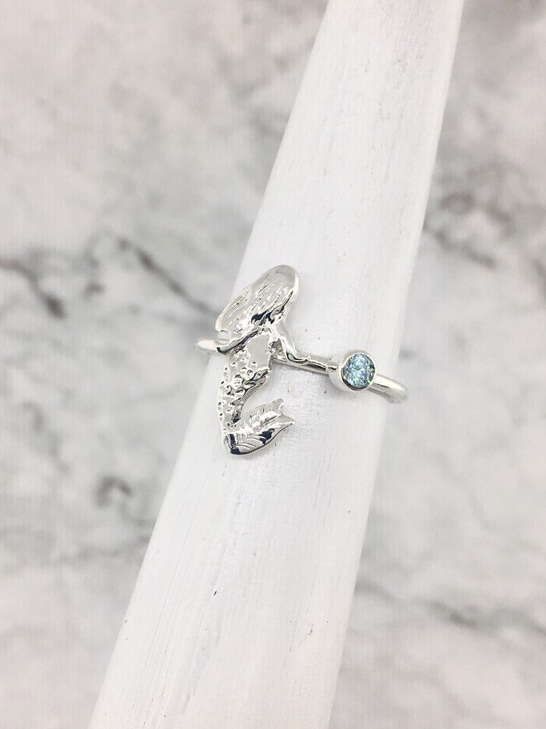 Mermaid Ring Personalized Ring October Birthstone Ring