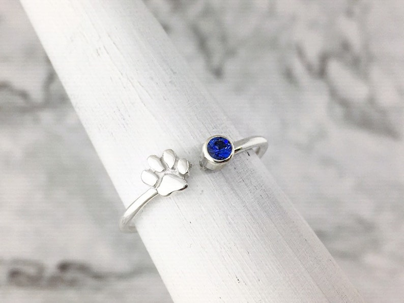 Personalized Paw Ring Pet Parent Gift Purple Gemstone Ring February Birthstone Ring Paw Print Jewelry