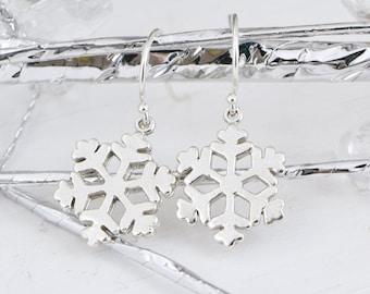 Snowflake Earrings, Sterling Silver Snowflake Earrings, Snowflake Jewelry, Christmas Gift, Sterling Dangle Earrings, Gift For Her