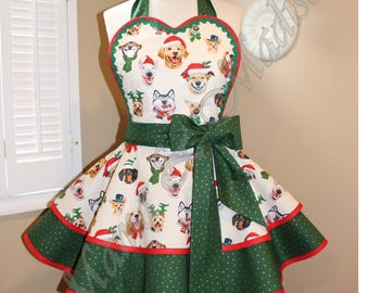 Christmas Puppy Print Woman's Retro Apron Featuring Heart Shaped Bib
