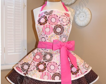 Pink Donut Print Woman's Retro Apron With Tiered Skirt And Bib...Plus Size Available