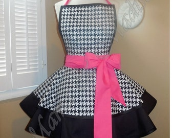 Houndstooth Print Woman's Retro Apron With Tiered Skirt And Bib...You Choose Accent Color