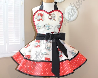 Baking Print Woman's Retro Apron Accented With Red + White Polka Dots Featuring Heart Shaped Bib...Ready To Ship