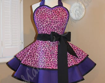 Cheetah Print Woman's Retro Apron Accented In Deep Purple Kona Cotton; Featuring Heart Shaped Bib...Plus Sizes Available