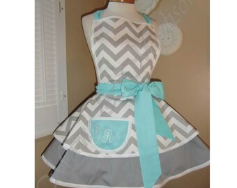 Chevron Print Accented with Aqua Blue Womans Retro Apron With Tiered Skirt And Bib, Featuring Monogrammed Pocket