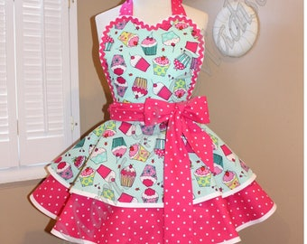 Cupcake Print Woman's Retro Apron, Featuring Heart Shaped Bib...Plus Size Available