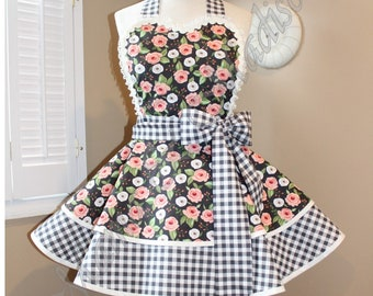 Black Floral + Gingham Print Woman's Retro Apron With Tiered Skirt And Bib...Plus Size Available