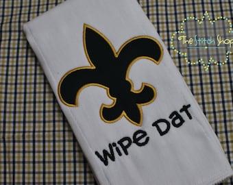 Saints Wipe Date Fleur de Lis Monogrammed and Appliqued Burp Cloth