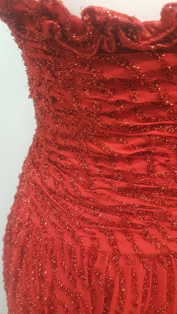 Amazing Studio 54 Disco Diva Dress in Red Sparkles