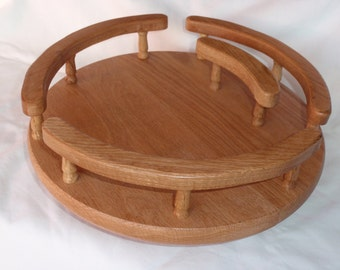 "Oak Lazy Susan with Napkin Holder  12""diameter"