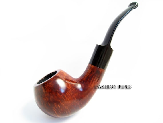 Exclusive Design Brass Inlay and Engraving /& Pouch Gift Collectible Inlaid Smoking Pipe of Pear Carving Handmade