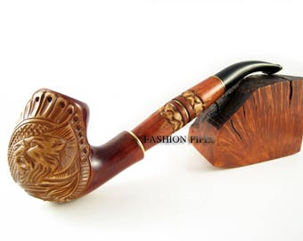 "Long Tobacco Smoking Pipes Wooden Pipe ""LION"" Engraved, Limited Edition"