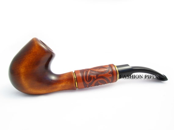 Exclusive Fashion Pipes New Carved Tobacco Pipe LongDRIFT 2 Wooden of Pear Wood Handcrafted and Pouch Gift