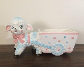 Relpo Lamb and Cart vintage midcentury Planter