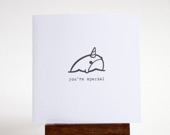 narwhal card - mini handmade greeting card