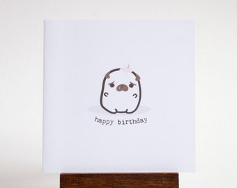 birthday pug card - small happy birthday card