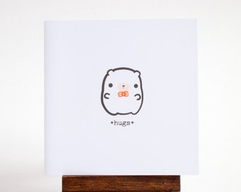 bear hugs card - mini bear with bowtie