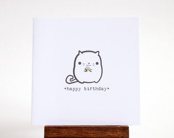 happy birthday card - cat with tiny ice cream