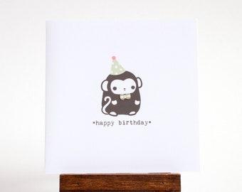 birthday card - happy birthday monkey card