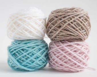 mini yarn skein set in pastel winter colours - worsted weight, pure wool, 48 grams, 88 yards