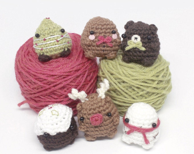 Featured listing image: crochet Christmas pattern set - mini amigurumi Christmas ornament patterns