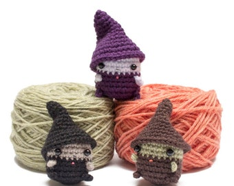 crochet witch pattern - amigurumi Halloween crochet pattern for witch doll and hat